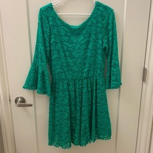 Green lace romper